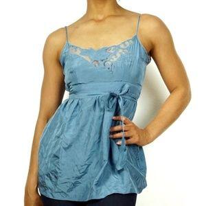 Anthropologie LIL Blue Silk Lace Trim Wrap Blouse